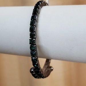 LOFT Green Coil Bead Bangle Bracelet #702